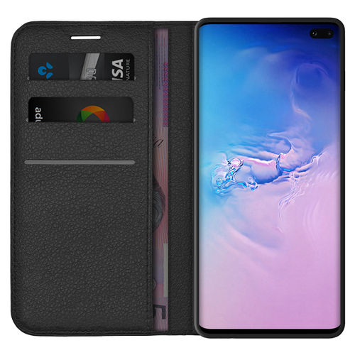Leather Wallet Case & Card Holder Pouch for Samsung Galaxy S10+ (Black)